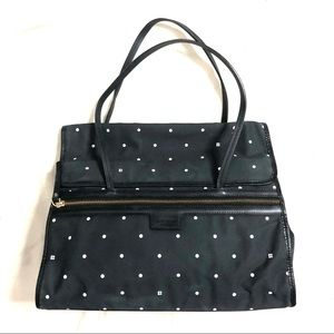 Authentic Kate Spade Polkadot Black Fabric Leather Trim Purse Bag Made In Italy
